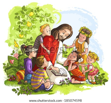 Vector illustration for Jesus reading the Bible with Children. Also available raster and outlined version - stock vector