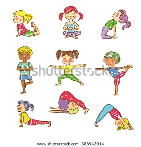 Vector illustration for Kid's Yoga. Hand drawn characters