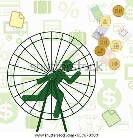 vector illustration for person running inside wheel for success and financial wellness for management and unproductive work concepts
