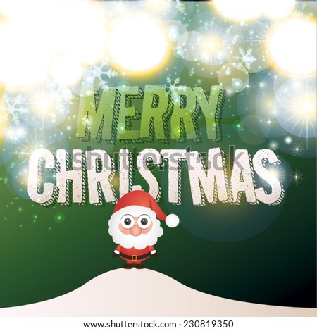 Vector illustration for retro christmas card. Snow background with santa claus. - stock vector
