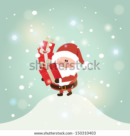 Vector illustration for retro christmas card. Snow landscape background with santa claus.