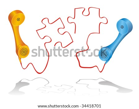 Vector illustration for telephone game, shown by two phone receivers and puzzle pieces. - stock vector