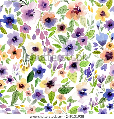 Vector illustration for textile and different holidays. Cute summer background. Floral pattern with watercolor flowers  on the white background. Isolated. - stock vector
