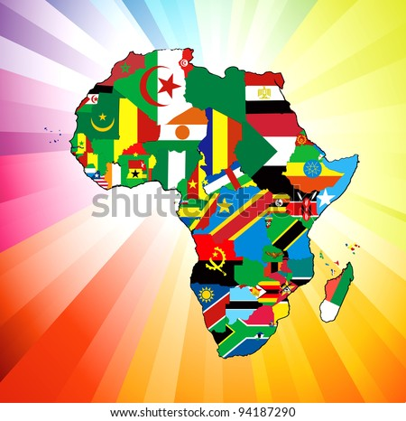 Vector illustration for the continent of Africa. Over 50 countries including several small islands, rivers and lakes not visible unless zoomed in. Very editable if needed. - stock vector