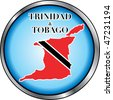 Vector Illustration for Trinidad & Tobago, Round Button. Used Didot font. - stock photo