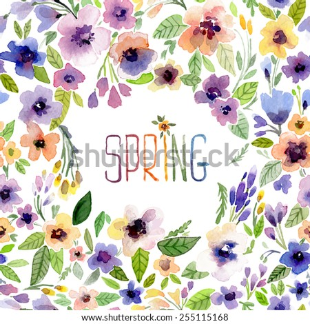 Vector illustration for Woman's Day and different holidays. Cute summer and spring card. Floral pattern with watercolor flowers on the white background. Isolated pansy on wreath, garland - stock vector