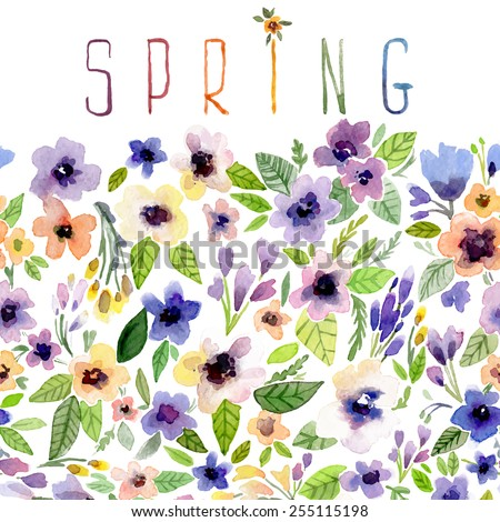 Vector illustration for Woman's Day and different holidays. Cute summer and spring card. Floral pattern with watercolor flowers on the white background. Isolated pansy - stock vector