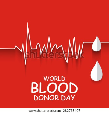 Vector illustration for World Blood Donor Day with red background.