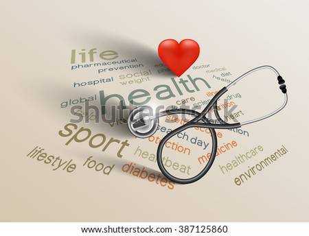 Vector illustration for World Health Day on paper background - stock vector