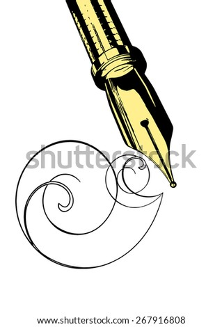 vector illustration fountain pen on a white background