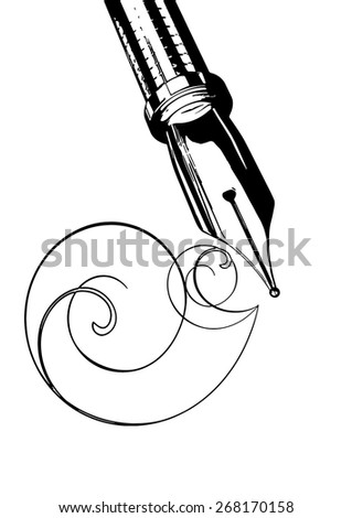 vector illustration fountain pen on a white background - stock vector