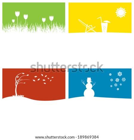 Vector illustration - four season concept with copyspace - stock vector