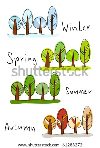 Vector illustration. Four seasons - winter, spring, summer and autumn - stock vector