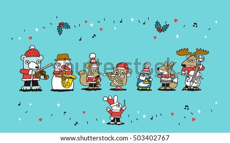 Vector illustration - Fox, penguin, rabbit, snowman, bear, santa,deer playing Christmas concert.