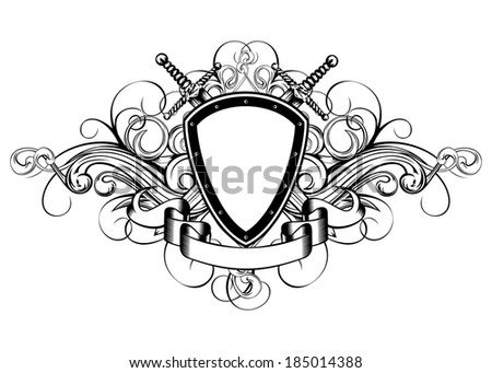 Vector illustration frame with crossed swords and patterns - stock vector