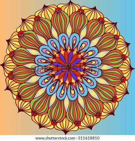 Vector illustration, freehand flower symmetry, card concept. - stock vector