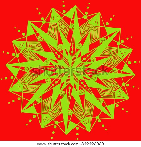 Vector illustration, freehand mandala in Christmas colors, kaleidoscope suitable for print and pattern, card concept. - stock vector