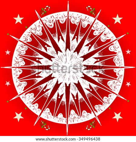 Vector illustration, freehand mandala sketch on gradient background, Christmas pattern and print, kaleidoscope card concept. - stock vector