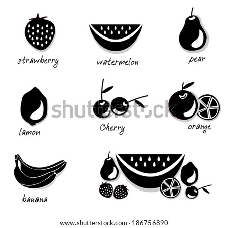 vector illustration Fruit of collection - stock vector