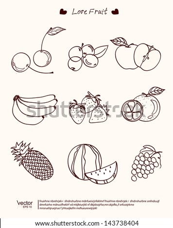 vector illustration Fruit of collection Vintage - stock vector