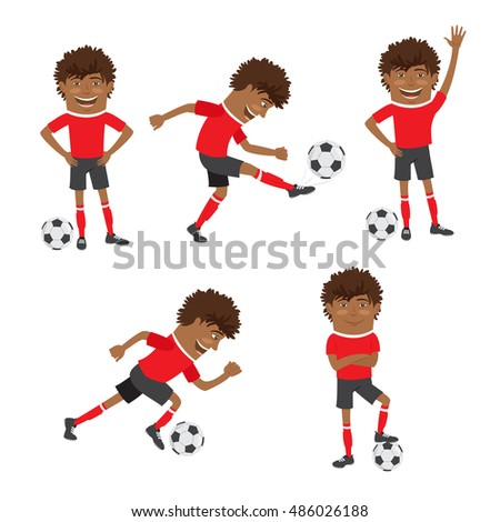 Vector illustration Funny African American soccer football player wearing red t-shirt running, standing and