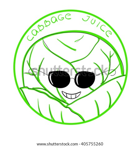 Vector illustration funny cabbage cartoon character in a round frame with handwritten words Cabbage Juice against white background