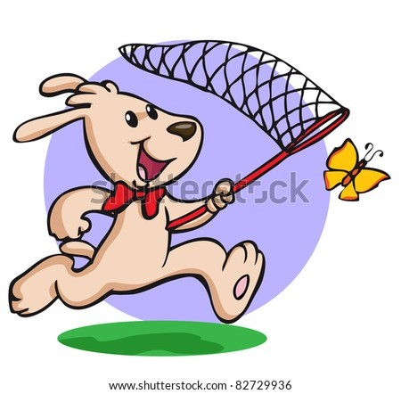 Vector illustration, funny dog trying to catch a butterfly, card concept. - stock vector