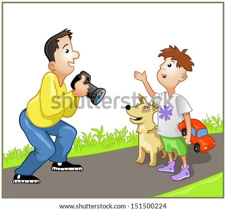 Vector Illustration: Funny Hipster - Photographer Speaking with Boy and Dog - stock vector