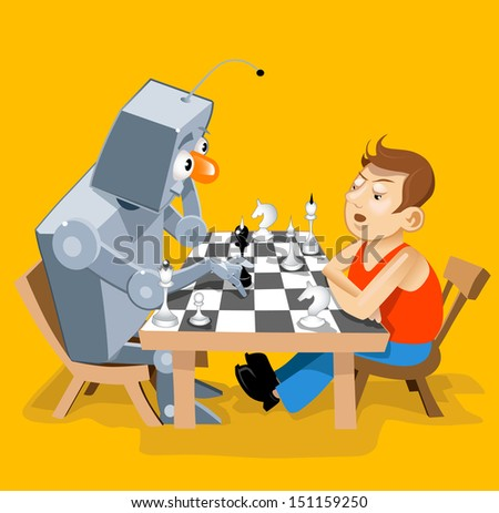 Vector illustration: Funny robot play chess with man. Humorous cartoon personages - stock vector