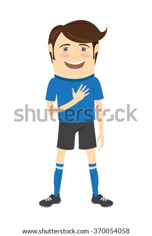 Vector illustration Funny soccer football player wearing blue t-shirt standing singing hymn with hand on his heart and smiling - stock vector
