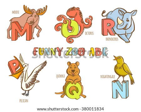animals that start with the letter n zoo alphabet vectort letter stock vector 20459 | stock vector vector illustration funny zoo animals kid s alphabet hand drawn ink colorful style letter m moose 380011834