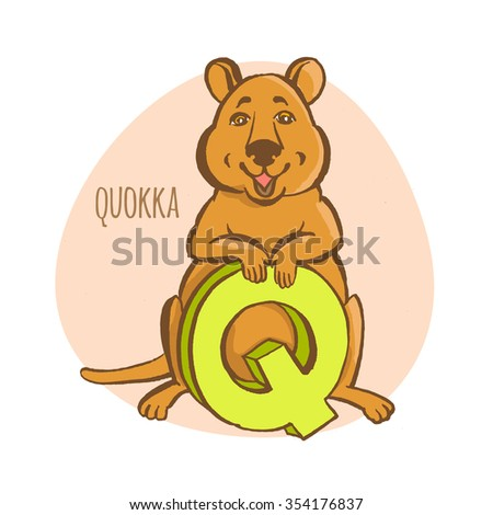 Vector illustration Funny zoo animals kid's alphabet. Hand drawn ink colorful style. Letter Q, quokka