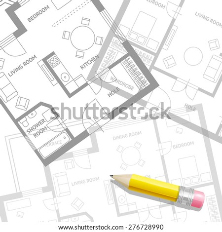 Vector illustration. Furniture architect plan with a pencil background. Flat Design - stock vector
