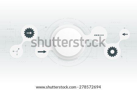 Vector illustration  futuristic.Abstract 3d white paper circle on circuit board .Blank circle for your design.Light grey hi-tech circuit board background