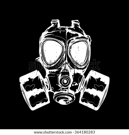 vector illustration gas mask on black stock vector 364180283