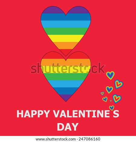 Vector illustration. Gay greeting card for Valentine's Day. Rainbow hearts on a red background. - stock vector