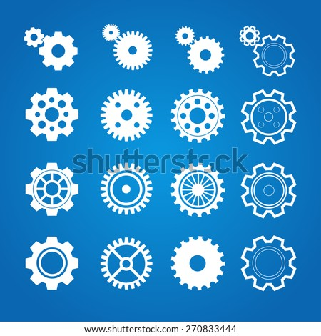 Vector illustration gear icon set isolated on a blue background . Gearwheel mechanism collection. Gear Concept. Flat Design - stock vector