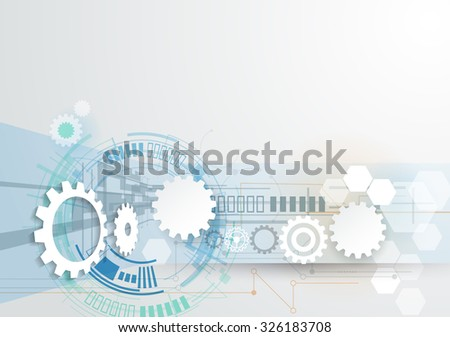 Vector illustration gear wheel, hexagons and circuit board, Hi-tech digital technology and engineering, digital telecom technology concept. Abstract futuristic on light blue color background - stock vector