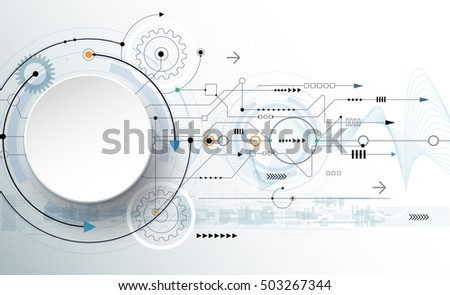 Vector illustration gear wheel, wave lines and circuit board, Hi-tech digital technology and engineering, digital telecom technology concept. Abstract futuristic on light blue color background
