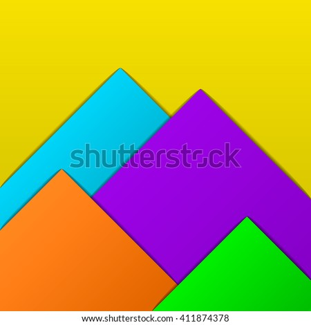 vector illustration geometric background with bright paper elements of blue, orange, green, purple