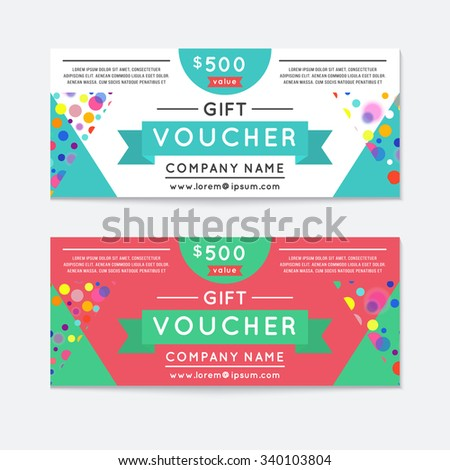 Vector illustration,Gift voucher template with clean and modern flat pattern.