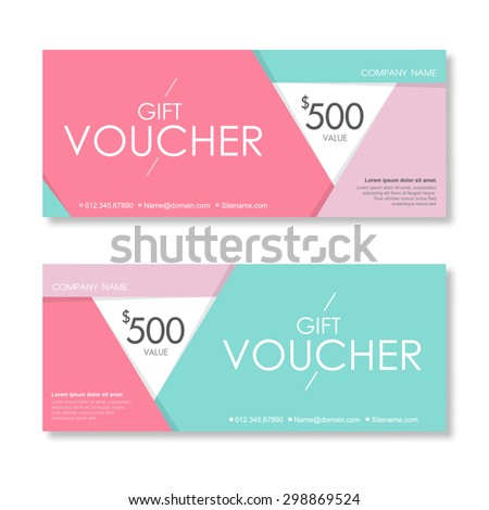 Vector illustration,Gift voucher template with clean and modern pattern. - stock vector