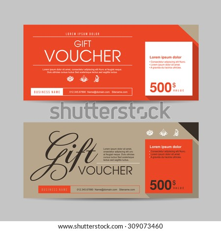 Vector illustration,Gift voucher template with colorful pattern,gift voucher certificate coupon design template - stock vector