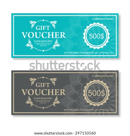 Vector illustration,Gift voucher template with vintage pattern. - stock vector