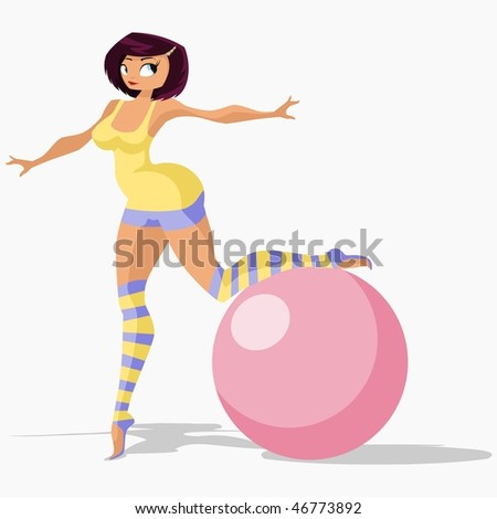 Vector illustration:girl in gym suit stands on one leg and leans on gymnastic ball. - stock vector