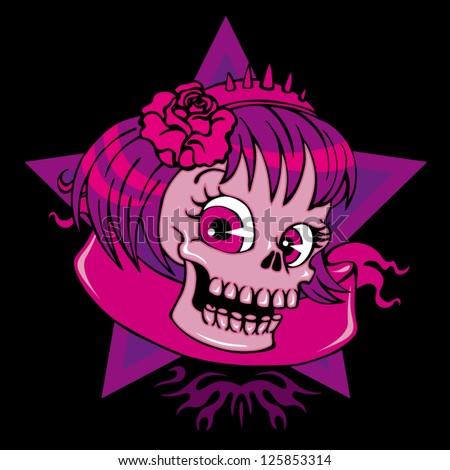Vector illustration girl skull with headband on black background - best for print on t-shirt - stock vector