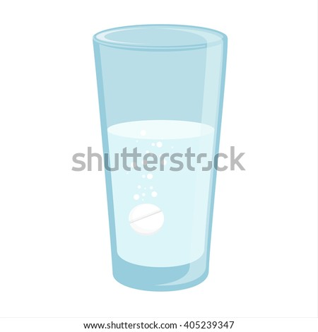 Vector illustration glass with water and tablet in it. Effervescent pill, tablet