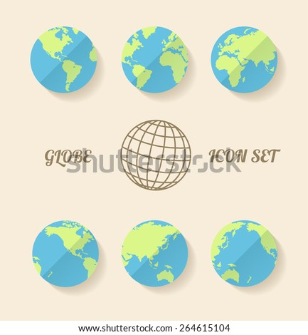 Vector illustration global set. Modern style. Planet in different views of the continents. - stock vector