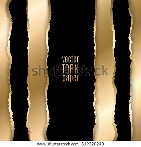 Vector illustration Gold and black torn paper. Template background - stock vector