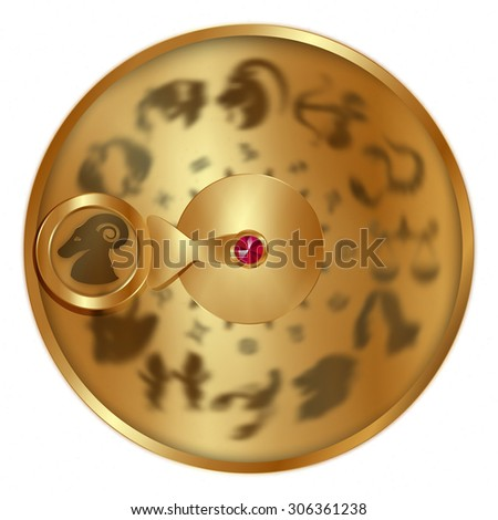 vector illustration gold disc with signs of the zodiac, Aries separately allocated. Isolated object to any suitable illustration. - stock vector